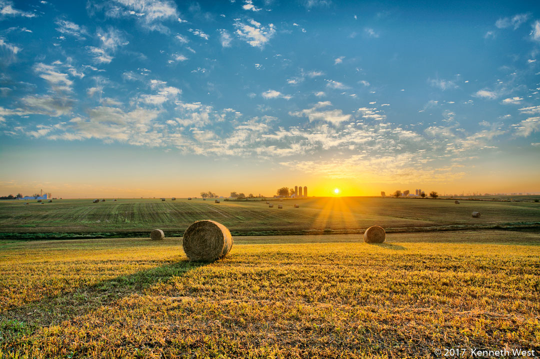 Harvest Dawn - FA-004-S - Iowa skyline, Hay bales in the early morning sun - Standard 2 x 3 Proportion