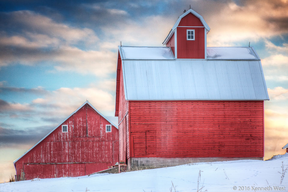 Red Barn and Snow - GW-014-S - Near the Grand Wood Scenic Byway between Wyoming and Anamosa - Standard 2 x 3 Proportion