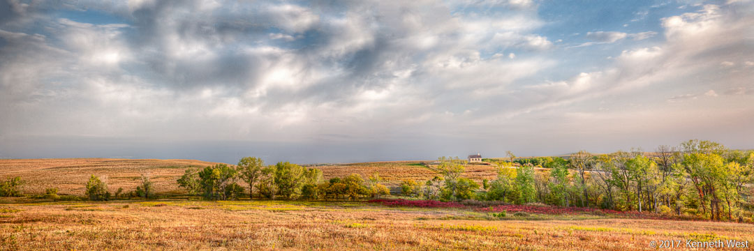 Fall Approaching in the Prairie - FH-015-P - Flint Hills Kansas, Lower Fox Creek School 1884, Panorama Proportion 1 x 3