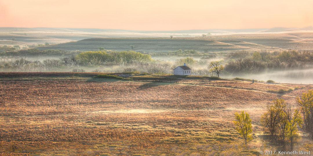 Flint Hills Morning Mist - FH-018-W - National Tallgrass Prairie Preserve, Kansas, Lower Fox Creek School 1884 - Wide Proportion 1 x 2